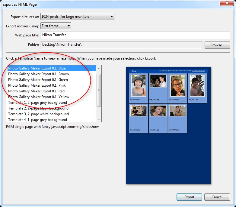 Picasa Export Dialog with PGM Templates